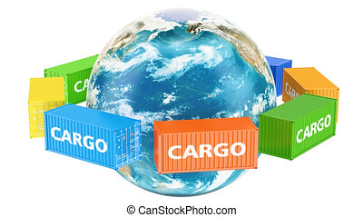 Rotating Earth Globe with cargo containers. Global cargo shipping concept, 3D rendering