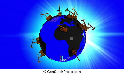 Rotating Earth with continents in the form of oil puddles and oceans with texture stock quotes and randomly distributed Pumpjack