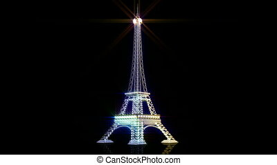 Rotating Eiffel  tower of diamonds