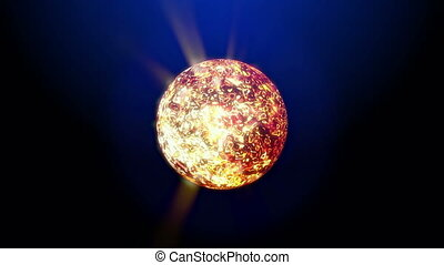 Rotating energy star with light sparks and sizzling hot gas...