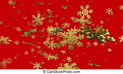 Rotating falling snowflakes in golden color on red