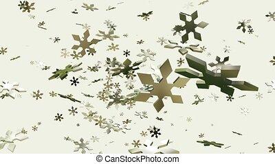 Rotating falling snowflakes on white