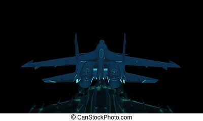 Rotating Fighter jet. Black and blue shine Formation of...
