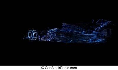Rotating Formula bolide. Black and blue shine Formation of ...