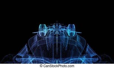 Rotating Formula one bolide. Black and blue shine Formation ...