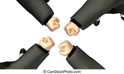 rotating four business fist. looping. moving camera
