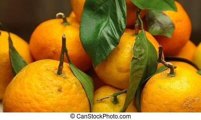 Rotating fresh Tangerines - Rotating Tangerines with fresh...