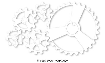 Mechanism from rotating gears and cogs. Collaboration and teamwork. Successful business solution 2d animation. Engineering and development concept.