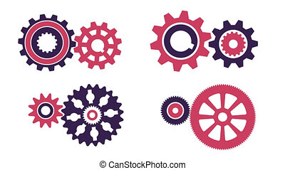 Rotating gear pairs of different configurations
