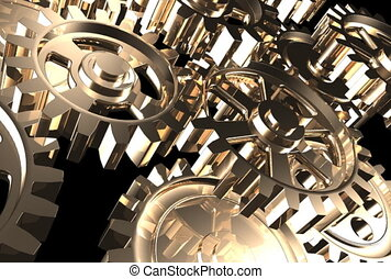 Rotating machine gear wheels machinery industrial background 3D animation