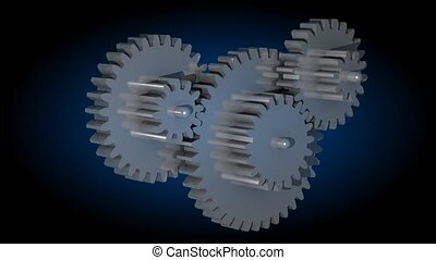 3d animation of rotating gears in black environment