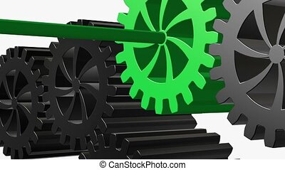 Rotating gears in green and black on white