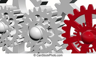 Rotating gears in white and red