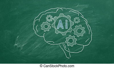 Rotating gears inside the human brain. Illustration on blackboard. Artificial intelligence concept.
