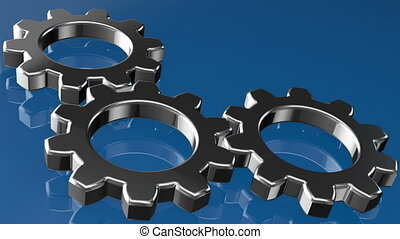 Rotating gears on blue background