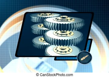 Rotating Gears Shown on Screen