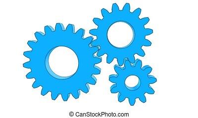Rotating gears - A shape animation of rotating gears.