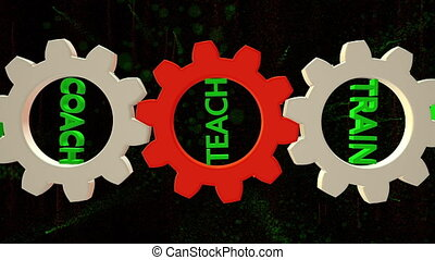 Rotating gears with teach, coach ,train concept and with particles in background