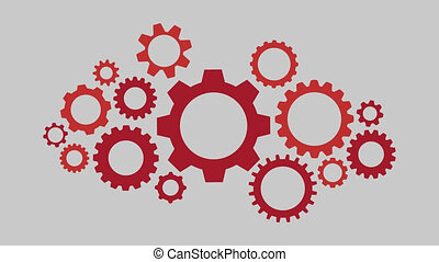 Rotating gearwheel assembly representing an organizing...