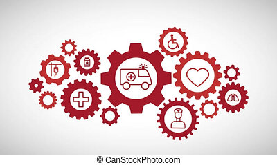 Rotating gearwheel assembly representing the health...