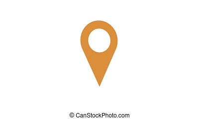Rotating geolocation icon. Yellow sign. Infographic marker...
