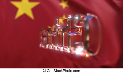 Rotating glass China caption against waving Chinese flag. Loopable motion background or intro animation