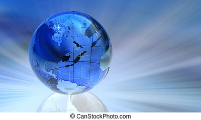 Rotating glass Earth globe