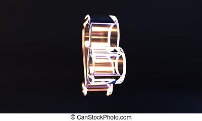 Rotating glass Leo Zodiac sign, loopable 3D animation -...