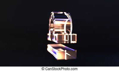 Glass Zodiac sign, part of the set. 3D