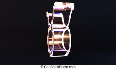 Rotating glass Taurus Zodiac sign, loopable 3D animation -...