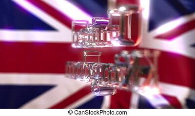 Rotating glass United Kingdom caption against waving British...