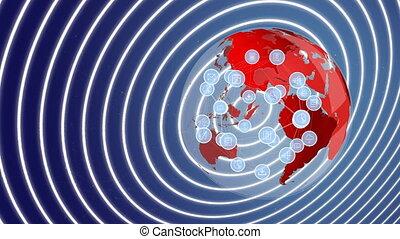 Rotating globe and icons