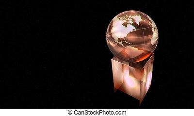 Rotating globe award on black background