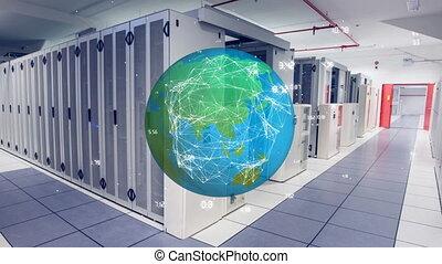 Rotating globe in server room