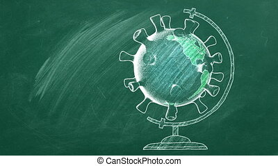 Rotating globe in shape of coronavirus  are drawn with chalk on a blackboard. Covid-19 concept. Back to School concept. Travel concept