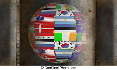 Rotating globe made of national flags