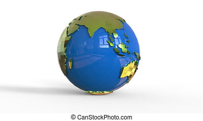 Rotating globe on white background