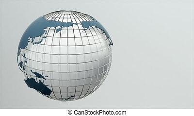 Rotating globe. Seamless loop.