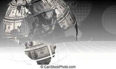 Rotating globe with dollar bills