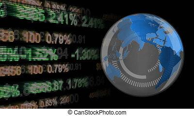 Rotating globe with economic data