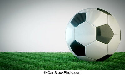 Rotating glossy soccer ball on grass field - seamless loop -...
