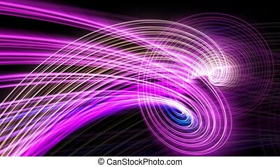 Rotating glow strings in purple and blue colors