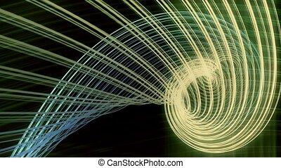 Rotating glow strings on black