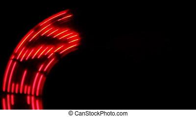 rotating glowing semicircular inscription SUCCESS on black