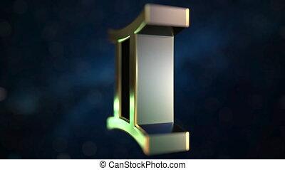 Rotating gold Gemini Zodiac sign, loopable 3D animation -...