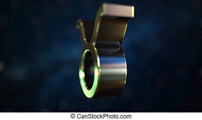 Rotating gold Taurus Zodiac sign, loopable 3D animation -...