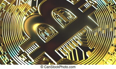 Rotating golden bitcoin coin, conceptual loopable animation