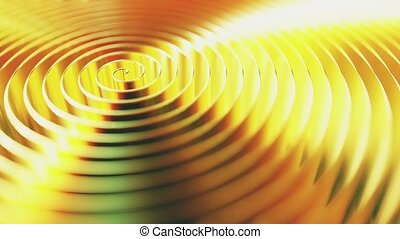 Rotating golden coil, shallow focus. Loopable 3D animation -...