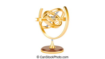 Rotating golden gyroscope, 4K animation. 3D rendering...
