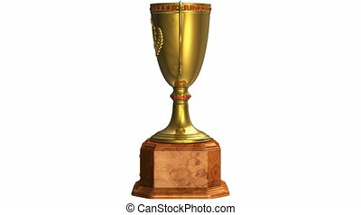 Rotating golden trophy cup isolated on white background with...